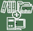Icone transparente représentant le classement de documents papier avec des dossiers informatiques avec TRAPEC