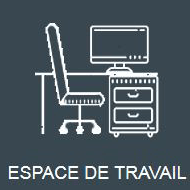 Icone grise représentant l'organisation de l'espace de travail avec TRAPEC